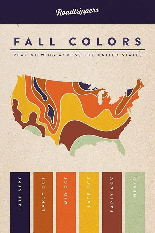 USA Fall Colors Map 100 Days of Sunshine
